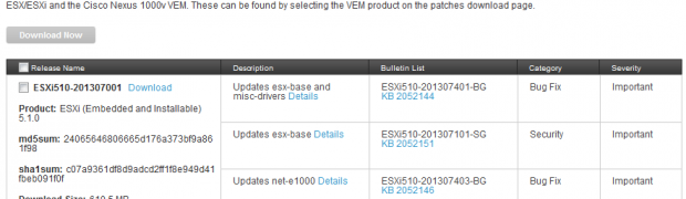 VMware ESXi 5.1, Patch ESXi510-201307001(2052143)