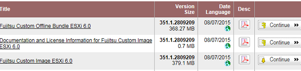 VMware ESXi 6.0にFujitsu Patchを適用