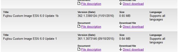 VMware Fujitsu Custom Offline Bundle ESXi 6.0 Update 1b適用
