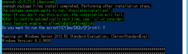 Install sshd on Windows Server 2012 R2(Win32-OpenSSH's Chocolatey package)